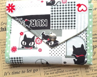 OOAK short wallet - Black cats