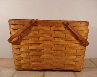 Wonderful vintage split ash woven gathering basket with side handles