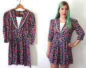 20 DOLLAR SUPER SALE! Blue Floral Dress - Rose Dress - Collared Dress