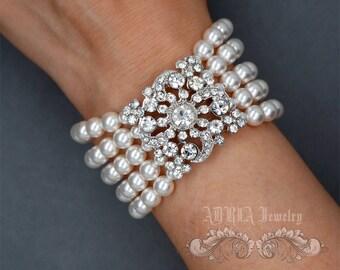 Rhinestone Pearls Wedding Bracelet, Swarovski Bridal Bracelet, White Ivory Pearls Multi-strands Cuff Bracelet