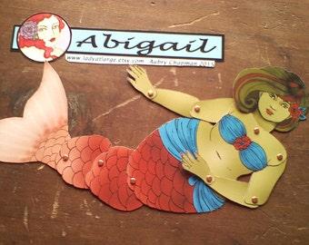 Abigail dark hair fat mermaid articulated paperdoll cut assemble
