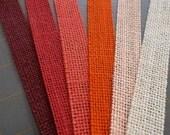 3/4 inch x 3  yards - Burlap Ribbon - Red, Coral, Orange, Peach, Burgundy