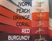 1.5 inch PEACH Orange CORAL Red or BURGUNDY Burlap Ribbon x 3  yards