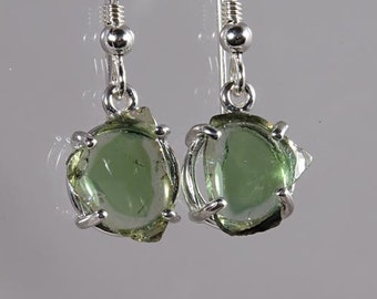 Crystals of Natural Green Watermelon Multi Color Tourmaline 5.01 carats t.w. Handset in Sterling Earrings - NOW  on  SALE Fast Free Shipping