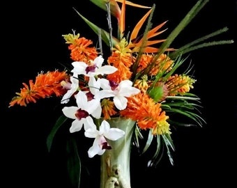 Tropical Birds of Paradise and Red Hot Poker Torch Lilies.Cordyline Bushes, Love Birds Wedding