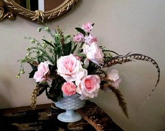 Parisian Pinks Roses Silk Flower Arrangement,  Delphiniums, Pheasant Feather, Romantic, Wedding