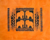 South African panel - orange elephants