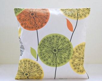dandelion cushion cover orange, green, lemon yellow , citrus flower pillow cover 16 inch
