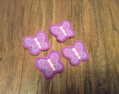 SALE Set of 4 Purple Blue and Pink Butterfly Embroidered Felt Appliqués Felties