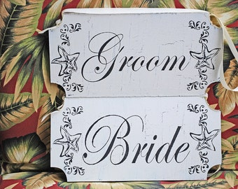 Beach Wedding Signs - BRIDE and Groom or Mr and Mrs - set of 2 - 12x6- Wedding decorations- Chair signs