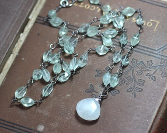 Moonstone Necklace Green Fluorite Wire Wrapped Beaded Silver Necklace Upscale Luxe Jewelry