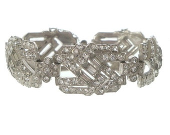 Art Deco Rhinestone Bracelet, 1920s Vintage Wide Baguette Link, Crystal Cuff, Antique Art Deco Jewelry, Wedding Jewellery