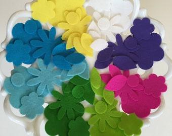 Felt Flowers, Die-Cut Pieces, 100% Wool, Flower Assortment, Embellishment, Applique, Scrapbooking, DIY Bride