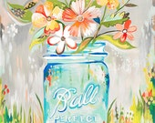 Ball Jar print | Katie Daisy Art | Watercolor Mason Jar | Wall art | 8x10 | 11x14