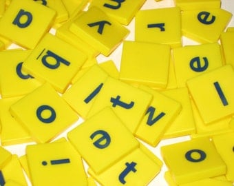 79 Square Plastic Letter Tiles  and 42 Chipboard Numbers for Altered Art, Collage, Assemblage, Crafts, etc.