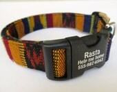 "Custom made collar with laser marking technology--""The Rasta"" in earth tone colors of rust, green, blue and orange Guatemalan woven yarn dye"