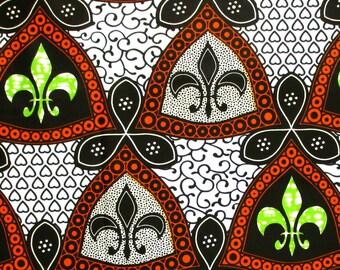 African Fabric 1/2 Yard Cotton ORANGE BLACK GREEN Abstract