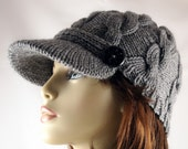 Hand Knitted Heather Grey Beanie with a Brim