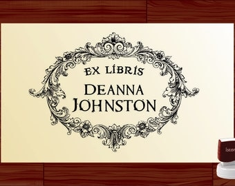 Custom EX LIBRIS Bookplate Stamp Vintage Frame Self inking From the LIBRARY of Rubber Book Stamp - Personalized Library Stamper Label EL5003