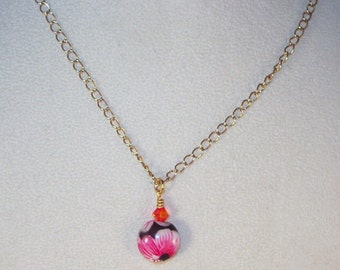 Coral and Floral Necklace and Earrings