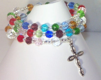 Celestial Crystal Rosary Bracelet - Jewish, Catholic or Anglican, Made to Order - Choice of Colors - 1, 2 or Multicolored