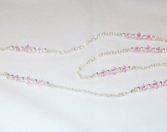 Swarovski Crystal Jewelry - Pink Crystals Necklace