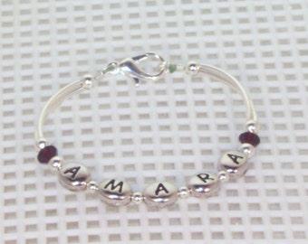 Newborn Name & Birthstone Bracelet - Silver, Toddler, Baby Bracelet, Keepsake