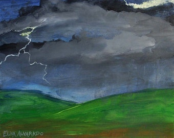 Storm painting on repurposed wood, original storm art by Elisa Alvarado, thunderstorm, landscape, lightning, cloud painting