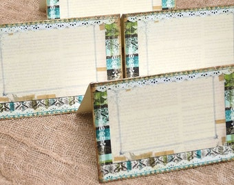 Wedding Place Cards Vintage Shabby Chic Green, Blue, Brown Tent Style Place Cards or Table Place Cards #344