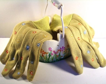 Handpainted garden gloves with matching bucket