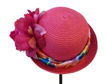 "Straw Cloche for Women, Girls and Teens, Tea Party Hat, Church Hat, Roll Brim Sun Hat, Summer Hat in Fuchsia Pink is - ""A Little Cutie"""