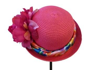 "Straw Cloche for Women, Girls and Teens, Tea Party Hat, Church Hat, Roll Brim Sun Hat, Summer Hat in Fuchsia Pink is - ""A Little Cutie"""