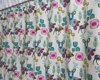 animal shower curtain rustic woodland shower curtain nature deer shower curtain teal