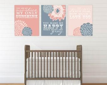 Your Are My Sunshine Wall Art, Pastel Nursery, Baby Girl Nursery Wall Decor, Custom Nursery Art, Sunshine Prints // N-G03-3PS AA1 06P