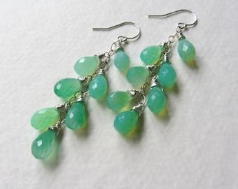 Chrysoprase Green Jewelry - Long Earrings Gemstone Jewelry Sterling Silver - Made in Seattle - Long Layer Earrings 7