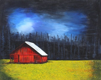 Calm Before The Storm / Red Barn Acrylic Painting / 24 x 30
