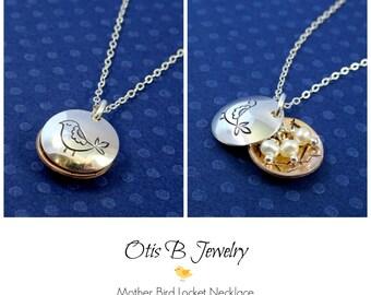 Bird nest necklace with pearls, mama bird necklace, mothers day gift, mother's necklace, mama bird, clamshell locket, briguysgirls, otis b