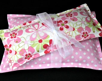 Spa Gift Set, Microwave Heating Pad, Migraines, Corn Bag Set, Heat Pack, Ice Pack, Bridesmaid Gift  - Pink Polka Dot and Floral Eye Pillow