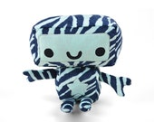 SALE - Robot Minky Plush in Tiger Striped Blue