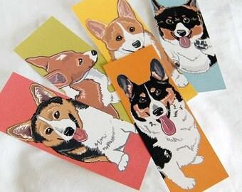 Colorful Corgi Bookmarks - Eco-friendly Set of 5