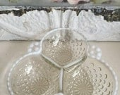 Vintage Hobnail Opalescent Moonstone Bubble Divided Dish Three Sections Candy Dish - Wedding Decor