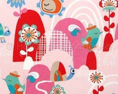 Cotton fabric, retro fabric, kids fabric, floral fabric, pink fabric, bird fabric, Spring Rainbow in Pink