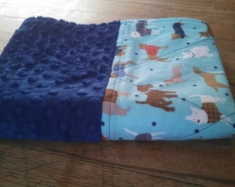 Waterproof Changing Pad - Dogs and Dark Blue Minky Dot - 16 x 31 Mat - Easy Care Wash/Dry