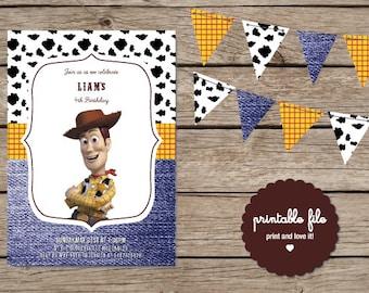 Toy Story. Woody Custom Birthday Invitation. Printable