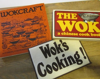 """Two 1970's Vintage Wok Cookbooks Chinese Cooking Wokcraft And The Wok, plus a """"Wok's Cooking!"""" Potholder"""