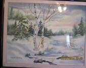 Signed Watercolor Winter Landscape Scene by Ingrid Fostberg