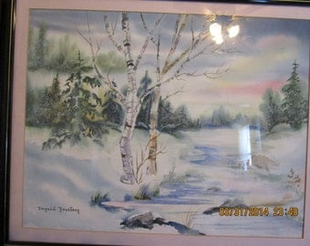 Signed Watercolor Winter Landscape Scene by Ingrid Fostberg