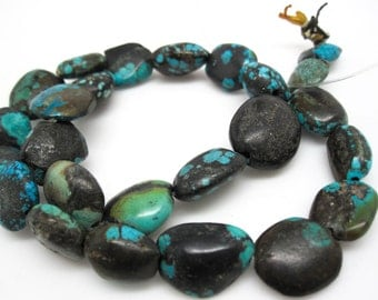 Turquoise Nugget, Turquoise Beads, Green Blue Turquoise, Pebbles, December Birthstone, SKU 4548A