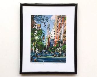 Chrysler Building framed Art. 8x10 black metal frame, NYC painting NY Cityscape. Iconic Scene. Ready to Hang Wall Art Decor by Gwen Meyerson
