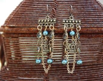 Carribean Blue Chandelier Earrings